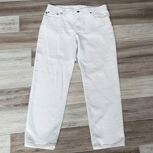 Ralph Lauren Off White Stretchy Crop Jeans